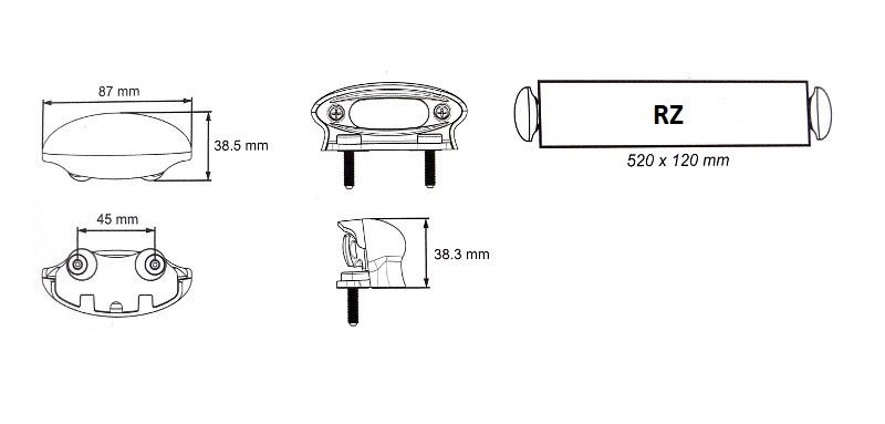 Osvětlení RZ , LED Lucidity 26256NCK-G (12-24V), QS150, nákres