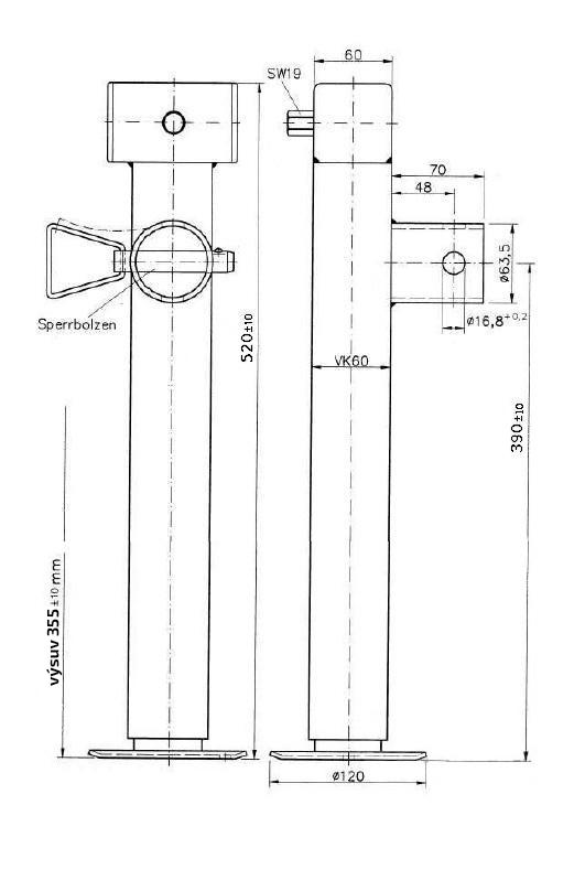 Podpěrná noha SF 60-19-390 (bez příruby), 1300 kg, KNOTT, (delší), č. 90803, nákres