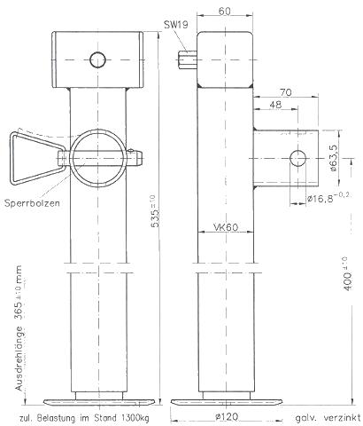 Podpěrná noha SF 60-19-400 (bez příruby), 1300 kg, Winterhoff, nákres