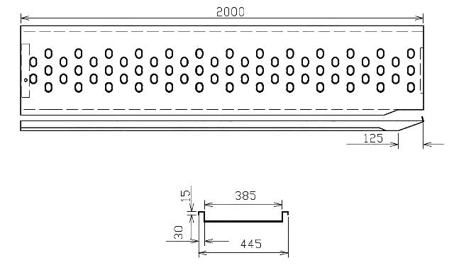 Nájezd VAPP 2000-385 mm levý, nákres