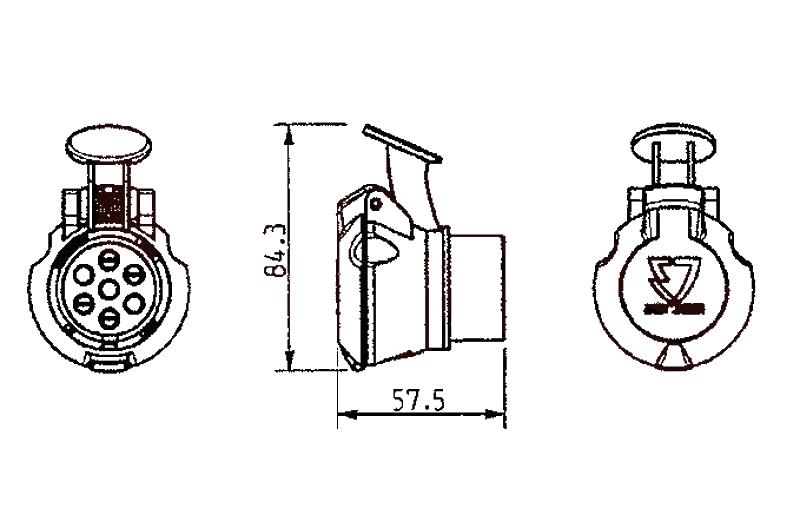 Redukce zásuvky 7-13 pólů (obrácená) JAEGER, nákres