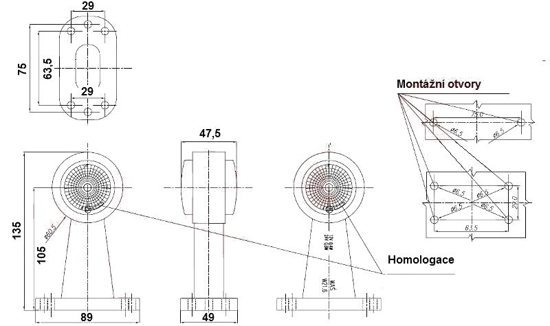 Světlo boční DIODOVÉ, tykadlo, červeno-bílé, LED WAS W21.6RF, 12-24V, 135 mm, QS150 , SNAP-IN kabel 0,5m, PRAVÁ nebo LEVÁ, nákres