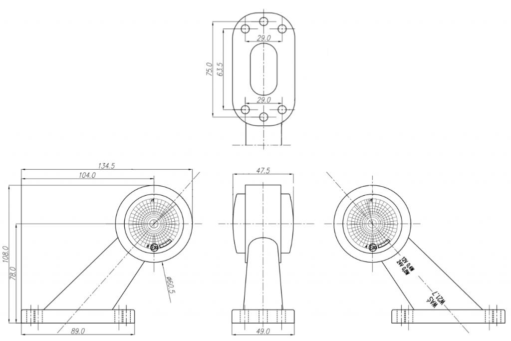 Světlo boční DIODOVÉ, tykadlo, červeno-bílé, LED WAS W21.7RF 299BC, 12-24V, levá 108 mm, QS150 , SNAP-IN kabel 0,5m, PRAVÁ, nákres