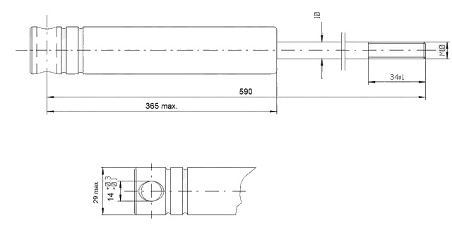 Tlumič nájezdové brzdy KNOTT KFG 35 D – nákres