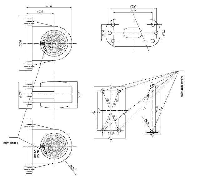 Svítilna doplňková obrysová LED WAS 296BC, 12-24V, P-L 78 mm, nákres