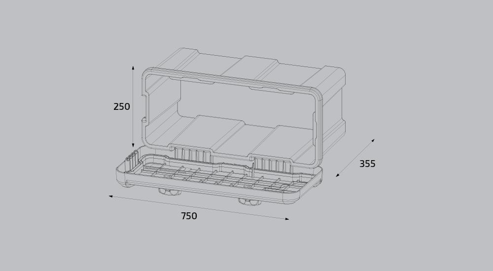 Box na nářadí BLACKIT L, dva zámky (horní otvírání) – 750x300x355 mm, obr. 3