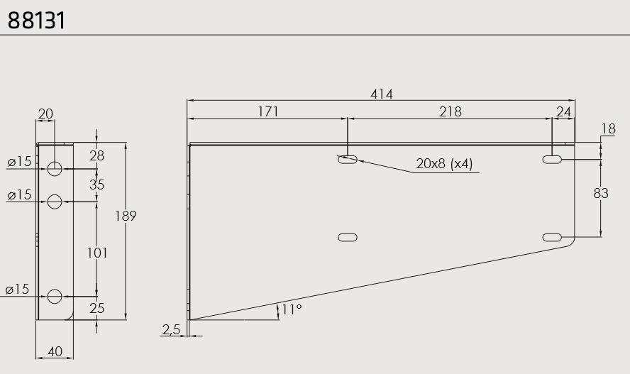 Držák boxu JUST 600, 750-R a 750 horizontální (sada pro 1 box), nákres
