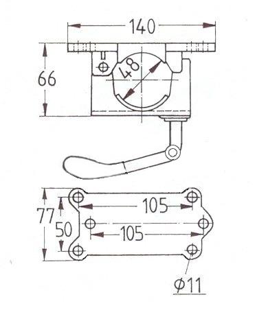 Držák opěrného kolečka 48 mm, litina, sklopná klička, KNOTT, nákres