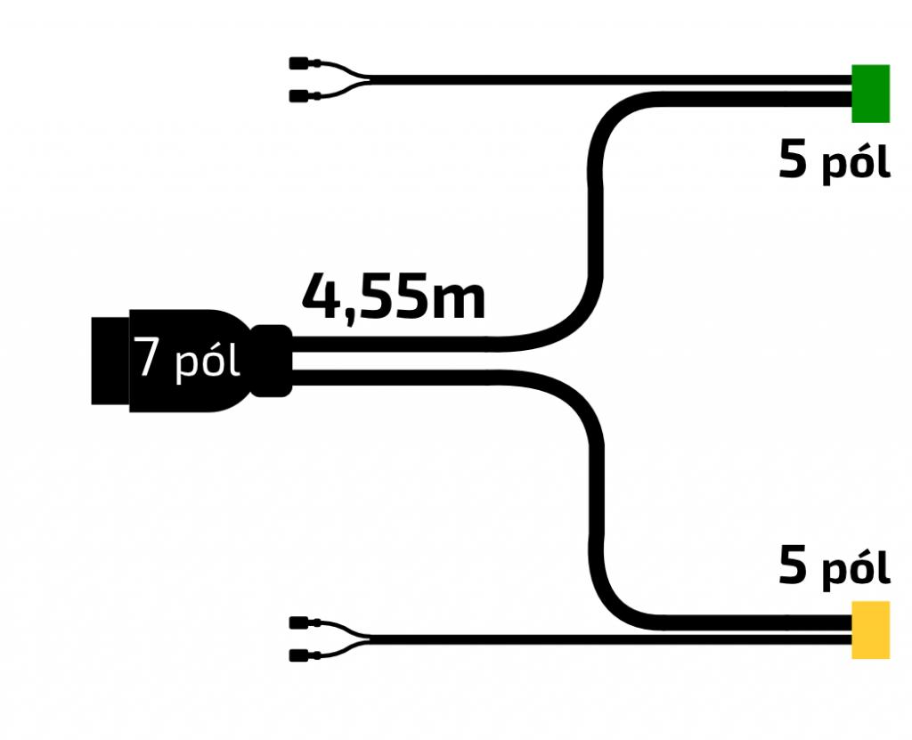 Elektroinstalace 4,55 m, 7-pol., s předními vývody Snap-in, obr. 2