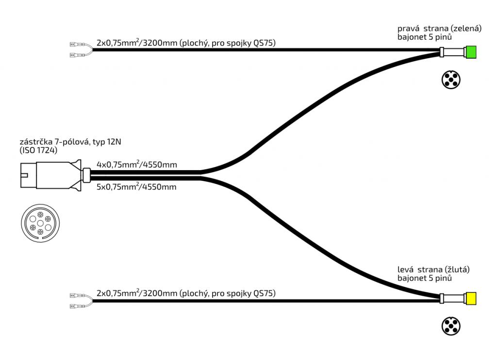 Elektroinstalace 4,55 m, 7-pol., s předními vývody Snap-in, obr. 3