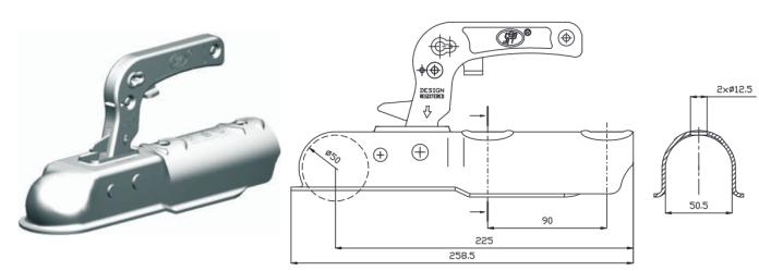 Kloub přípojný Steelpress 750 kg, trubka pr. 50, 8SZSK-750C, nákres