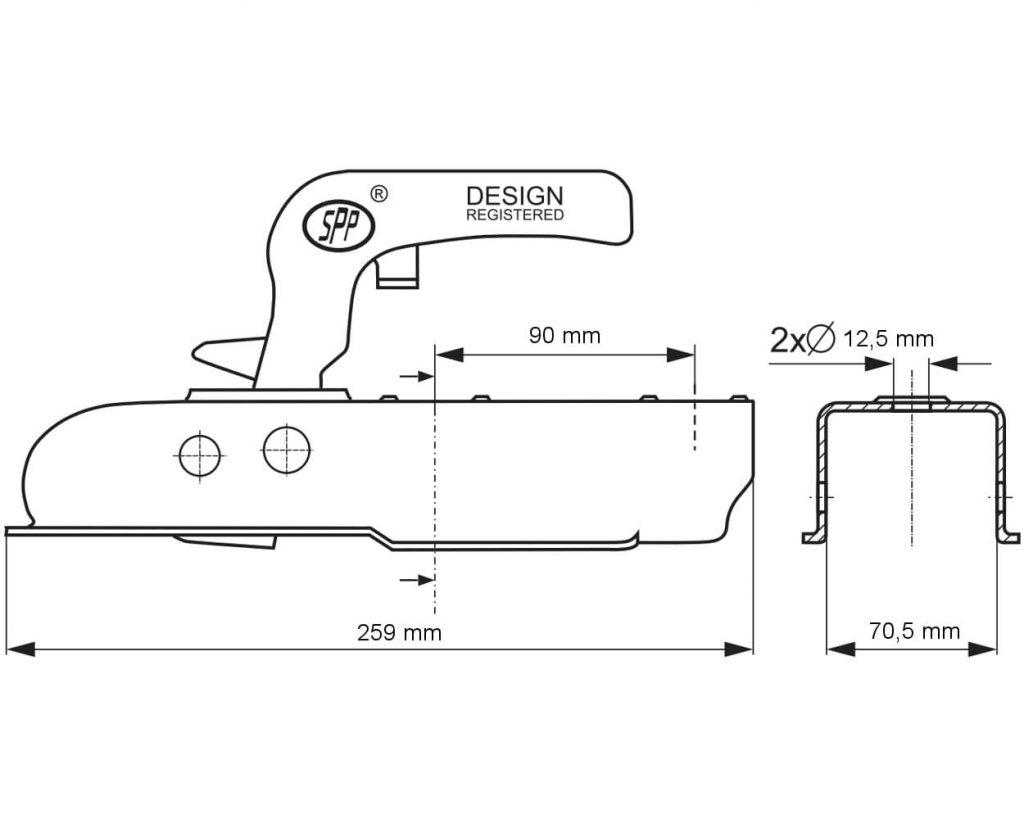 Kloub přípojný Steelpress SPP ZSK-750J, jekl 70, do 750 kg, (otvory 2 x 12,5 mm), nákres